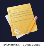 sheet of paper with pencil ... | Shutterstock .eps vector #1090196588