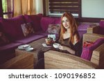 drink tea relax cosy photo with ... | Shutterstock . vector #1090196852