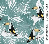 tropical seamless pattern with... | Shutterstock .eps vector #1090197155