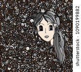 the girl's face in flowers. the ...   Shutterstock .eps vector #1090199882