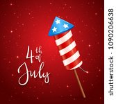 text 4th of july and firework... | Shutterstock .eps vector #1090206638