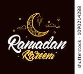 ramadan kareem in lettering...   Shutterstock .eps vector #1090214288