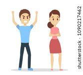 isolated angry couple. man and... | Shutterstock .eps vector #1090217462