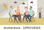 people at cafe. friends eating... | Shutterstock .eps vector #1090218365