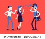 boyfriend feeling jealous. man...   Shutterstock .eps vector #1090230146