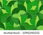 green leaves background. | Shutterstock .eps vector #1090240232