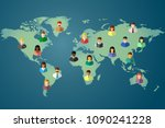world map of the earth and... | Shutterstock .eps vector #1090241228