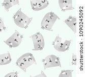 cute cats vector pattern. hand... | Shutterstock .eps vector #1090245092