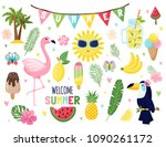 summer set  summertime vacation ... | Shutterstock .eps vector #1090261172