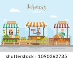 farm shop. local market.... | Shutterstock .eps vector #1090262735