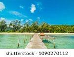 wooden pier or bridge with... | Shutterstock . vector #1090270112
