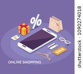 online shopping concept banner.... | Shutterstock . vector #1090274018