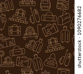 seamless pattern with luggage.... | Shutterstock .eps vector #1090276682