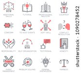 vector set of flat linear icons ... | Shutterstock .eps vector #1090278452