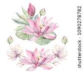 watercolor flowers set in... | Shutterstock . vector #1090278782