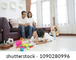 happy asian family spend time... | Shutterstock . vector #1090280996