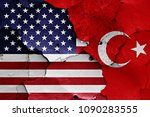 flags of usa and turkey ... | Shutterstock . vector #1090283555