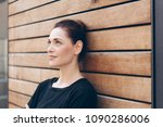 thoughtful elegant woman with... | Shutterstock . vector #1090286006