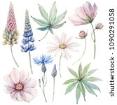 Stock photo handpainted watercolor country flowers set in vintage style it s perfect for greeting cards 1090291058
