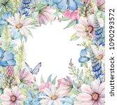 watercolor flower circle frame. ... | Shutterstock . vector #1090293572