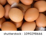eggs in a wooden box  top view... | Shutterstock . vector #1090298666