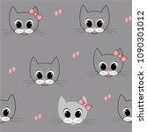 animal cat face with pink bow... | Shutterstock .eps vector #1090301012