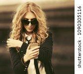 blond business woman in... | Shutterstock . vector #1090305116