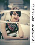 happy young fashion woman with... | Shutterstock . vector #1090305122