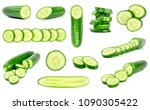 collection of fresh green... | Shutterstock . vector #1090305422