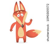 cartoon of creeping sly fox... | Shutterstock .eps vector #1090305572