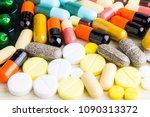 medicine pills or capsules on...   Shutterstock . vector #1090313372