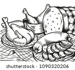 chicken and sausage on the...   Shutterstock .eps vector #1090320206