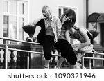 group of happy teen girls... | Shutterstock . vector #1090321946