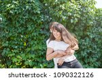 a young couple of teenagers  a... | Shutterstock . vector #1090322126