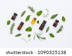 bottle of essential oil and... | Shutterstock . vector #1090325138