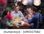 group of friends gathered... | Shutterstock . vector #1090327082