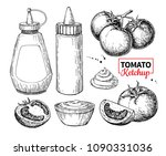 ketchup sauce bottle with... | Shutterstock .eps vector #1090331036
