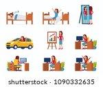 business woman work day scenes....   Shutterstock . vector #1090332635