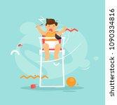 child screams. flat design... | Shutterstock .eps vector #1090334816
