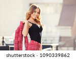 happy young fashion woman... | Shutterstock . vector #1090339862
