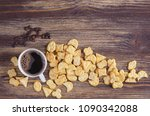 cup of coffee and crackers of... | Shutterstock . vector #1090342088