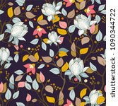 colorful floral pattern. vector ... | Shutterstock .eps vector #1090344722
