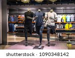 sport clothes store in shopping ...   Shutterstock . vector #1090348142