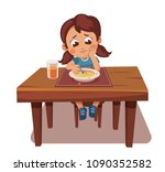 girl doesn't want to eat soup.... | Shutterstock .eps vector #1090352582