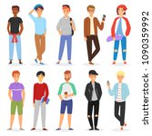teenage boy vector young male... | Shutterstock .eps vector #1090359992