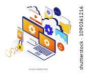 modern flat design isometric... | Shutterstock .eps vector #1090361216