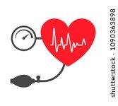 heart   arterial blood pressure ... | Shutterstock .eps vector #1090363898
