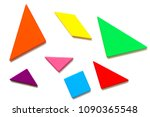 color wood tangram puzzle in... | Shutterstock . vector #1090365548
