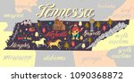 illustrated map of tennessee ... | Shutterstock .eps vector #1090368872