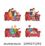 different people sitting on... | Shutterstock . vector #1090371392